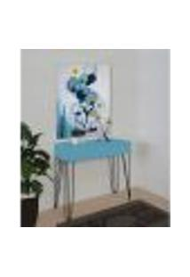 Aparador Penteadeira Console Para Sala Estar Dormitório Pés Hairpin Legs Estilo Industrial Azul Laca