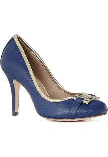 Sapato Tradicional Em Couro Texturizado Com Aviamento- Acarmen Steffens