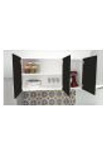 Armário Suspenso Para Cozinha Com 3 Portas Em Mdf 1,20 Preto