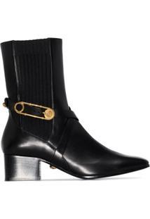 Versace Ankle Boot De Couro Com Detalhe De Alfinete E Salto 40Mm - Preto