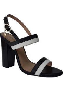 Sandália Couro Sapatos E Botas Salto Alto Bloco Tira Dupla Feminino - Feminino-Preto+Branco
