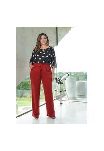 Blusa Decote Bolas Almaria Plus Size She Brand Poá Preto