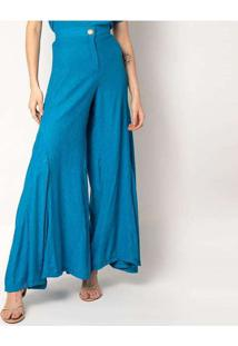 Calça Pantalona Elora Textura Feminina Azul