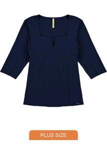 Blusa Malha Canelado Traxy Azul