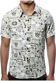 Camisa Camaleão Urbano Caveira Exótica Bege