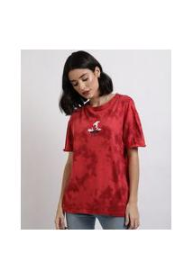 Blusa Feminina Gryffindor Harry Potter Estampada Tie Dye Manga Curta Decote Redondo Vermelha
