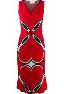 Alexander Mcqueen Vestido Com Estampa De Coração - Vermelho