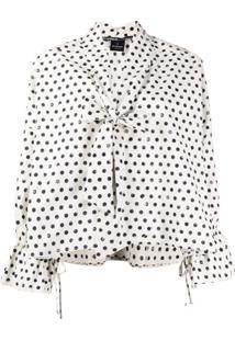 Pinko Blusa Com Estampa De Poás - Branco