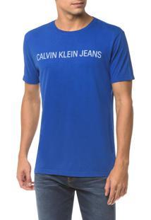 Camiseta Ckj Mc Logo - Azul Médio - Pp