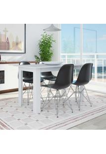 Conjunto De Mesa Cogma Com 4 Cadeiras Eames Base Metal Branco E Preto