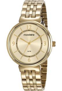 Kit De Relógio Analógico Mondaine Feminino + Pulseira - 99399Lpmvde1K Dourado