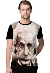 Camiseta Stompy Einstein Masculino - Masculino-Bege+Preto