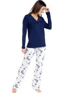 Pijama De Inverno Feminino Azul Floral Com Renda - Tricae