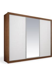 Armário 3 Portas De Correr 2,46M Com Espelho, Imbuia Com Branco, Premium Plus