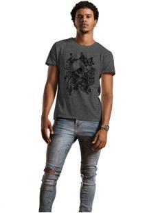 Camiseta Masculina Joss Caveira Buterfly Chumbo