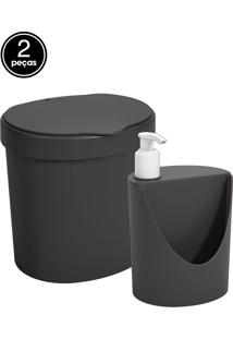 Kit Pia Lixeira 2, 5L Dispenser Coza Preto Coza