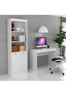 Escrivaninha E Estante Com 2 Portas Para Escritório-Ho-2952-Hecol - Branco