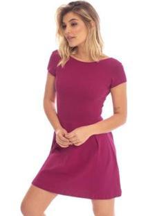 Vestido Liso Heart Aleatory - Feminino-Roxo