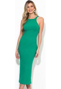 Vestido Midi Canelado Linho Verde