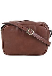 Bolsa Dergham Mini Bag Quadrada Transversal Feminina - Feminino-Café