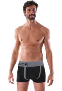 Cueca Boxer Sem Costura Corpo Preto Listra Cinza E Triângulo Lateral