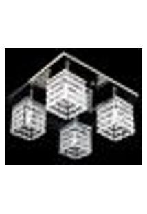 Lustre Acrílico Plafon Quadrado Santarém 30X30X15Cm Para 4 Lâmpadas G9 - Santarem-30