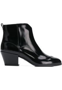 Hogan Ankle Boot Com Zíper - Preto