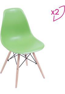 Jogo De Cadeiras Eames Dkr- Verde & Madeira Clara- 2Or Design