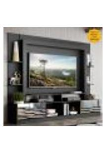 "Rack C/ Painel Tv 65"" Portas C/ Espelho Oslo Multimóveis Preto/Amarelo"