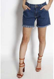 Bermuda Jeans Desfiada Com Bolsos - Azul - My Favorimy Favorite Things