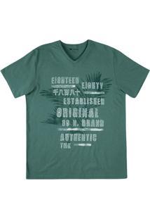 Camiseta Em Malha De Algodão Estampada Na Modelagem Slim E Decote V