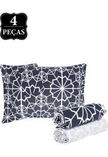 Jogo De Cama Casal Hedrons By Design Mosaico Black Percal 250 Fios 4Pçs Preto/Branco