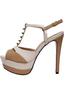 Sandália Week Shoes Meia Pata Nude Claro/Escuro Com Spikes