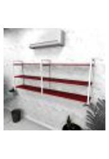 Estante Industrial Escritório Aço Cor Branco 180X30X68Cm Cxlxa Cor Mdf Vermelho Modelo Ind32Vres