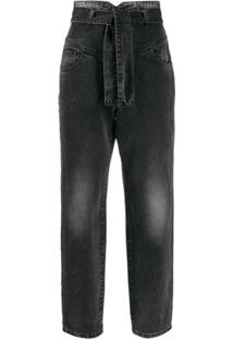 Pinko Calça Jeans Reta Cintura Alta - Cinza