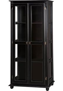 Cristaleira 2 Portas + 3 Prateleiras Laterais Com Vidro -Tommy Design