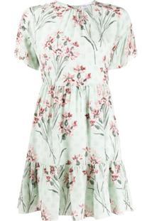 Redvalentino Vestido De Seda Com Estampa Floral - Verde