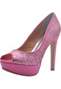 b739f7582 Dafiti. Peep Toe Cetim Com Salto Alto Pink Rosa Festa Laura Prado Paetê