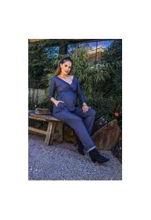 Macacão Gestante & Cia Monalisa Malha Jeans De Amamentar M3/4