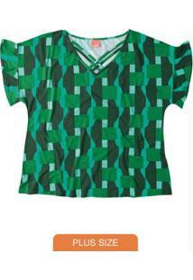 Blusa Verde Bandeira Com Tiras Geométrica