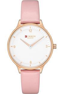 Relógio Curren Analógico C9036L Rosa - Tricae