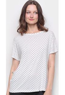 Blusa Hering Poá Assimétrica Feminina - Feminino-Branco+Preto