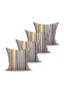 Conjunto De Capas De Almofadas Com 4 Peças Fascínio Preto E Amarelo 60X60 Cm