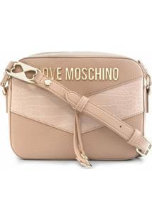 Love Moschino Bolsa Transversal Com Placa De Logo E Recortes Contrastantes - Neutro
