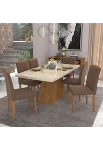 Conjunto De Mesa De Jantar Helen Com 6 Cadeiras Vanessa Suede Off White E Chocolate