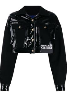 Versace Jeans Couture Cropped Faux-Leather Jacket - Preto
