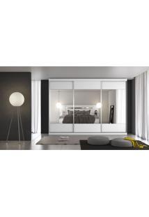 Guarda-Roupa Casal 3 Porta E 4 Gavetas Milano Espelhado Branco Acetinado