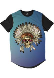 Camiseta Bsc Longline Caveira Indigena Cocar Sublimada Preta Azul