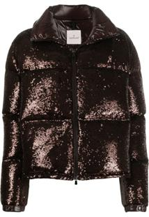 Moncler Sequinned Puffer Jacket - Marrom