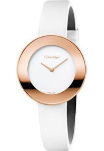 Relógio Calvin Klein Feminino Em Couro Branco